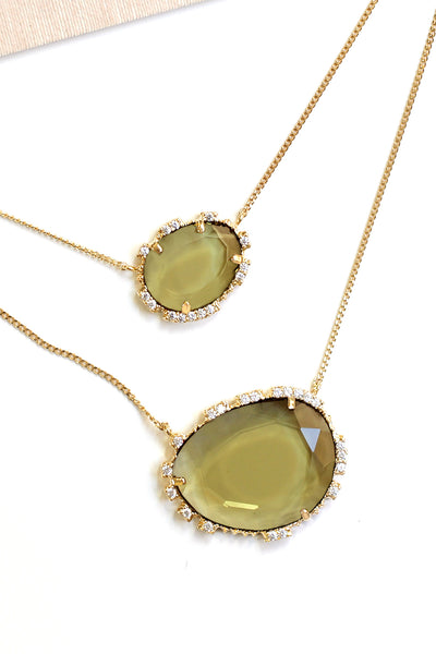 Double Stone Pendant Necklace - Olive