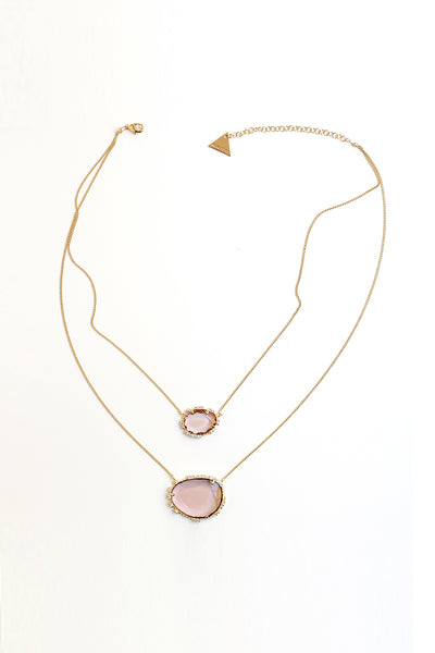 Double Stone Pendant Necklace - Rose