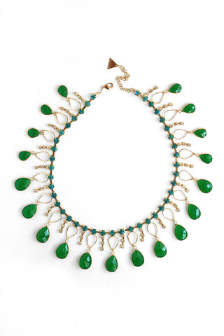 Crystal Scattered Necklace - Green