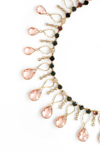 Crystal Scattered Necklace - Pink