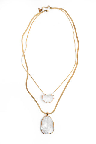 Double Stone Layered Necklace - White