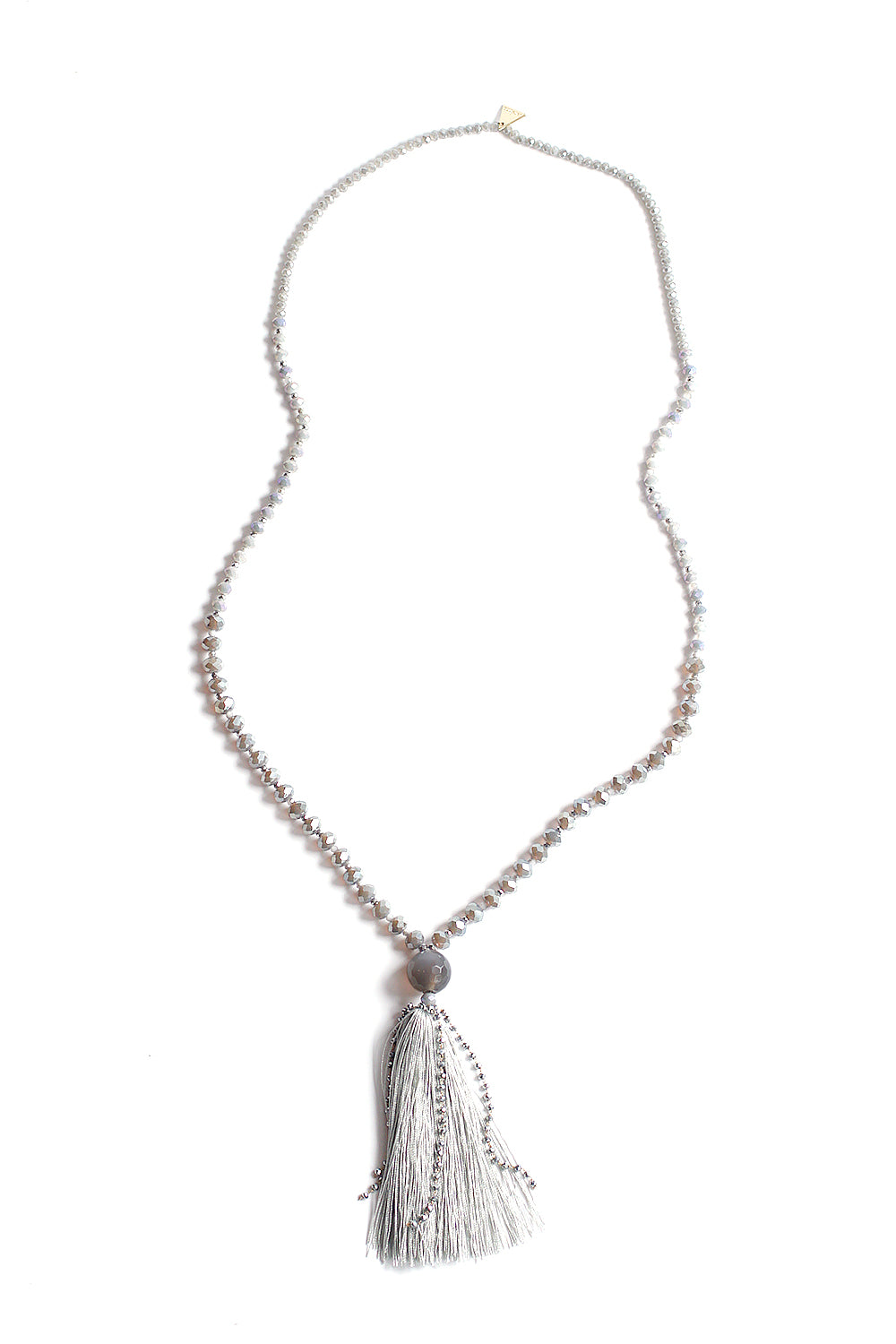 Crystal Tassel Necklace - Dove