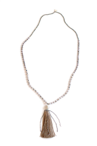 Crystal Tassel Necklace - Moonstone
