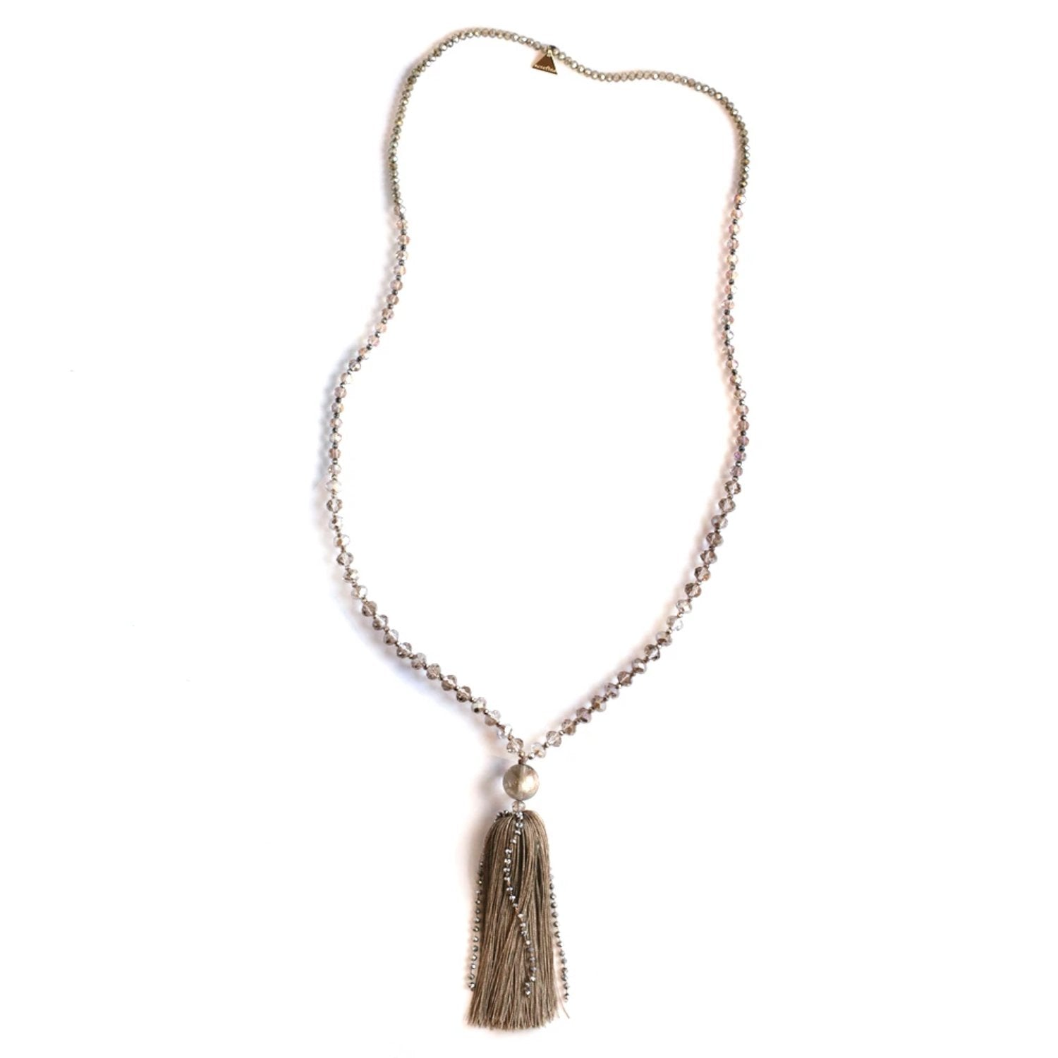Crystal Tassel Necklace - Smokey