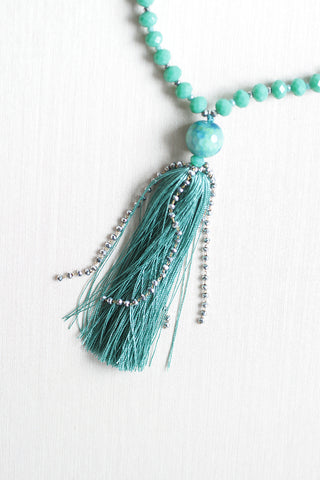 Crystal Tassel Necklace - Turquoise
