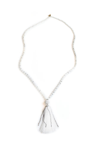 Crystal Tassel Necklace - White