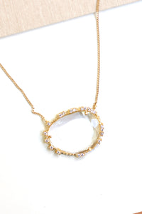 Delicate Single Crystal Necklace - Clear