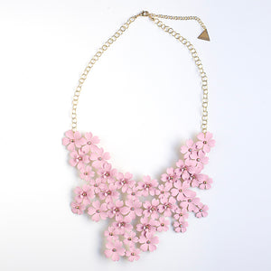 Mega Floral Statement Bib Necklace - Blush