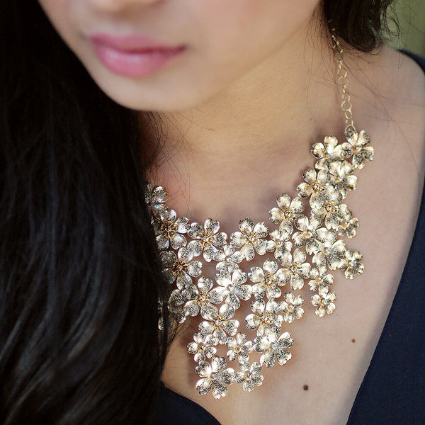 Mega Floral Statement Bib Necklace - Gold