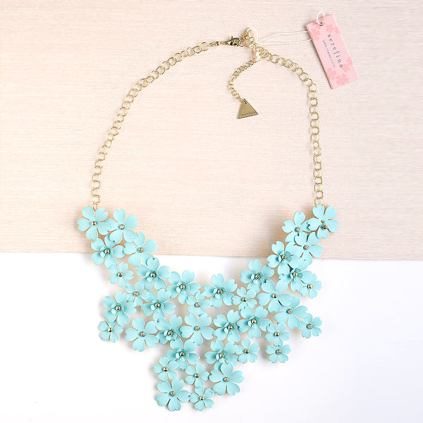 Mega Floral Statement Bib Necklace - Turquoise