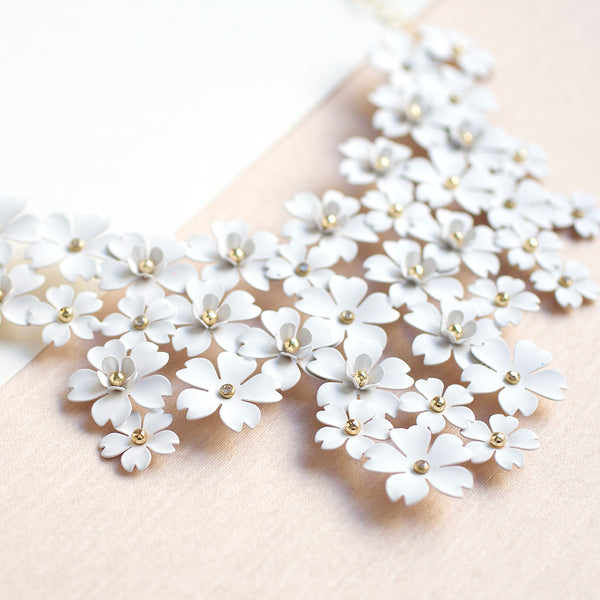 Mega Floral Statement Bib Necklace - White