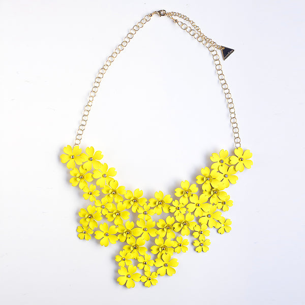 Mega Floral Statement Bib Necklace - Yellow