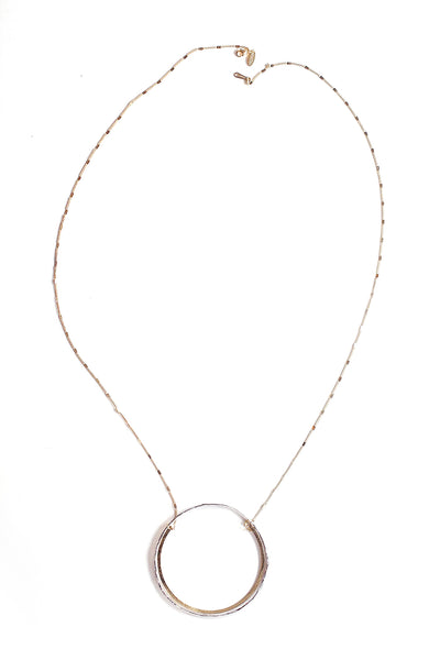 Double Circle Pendant Necklace - Silver