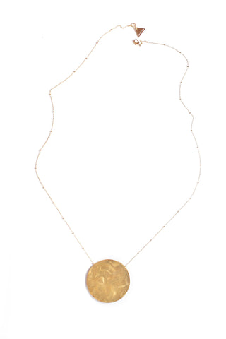 Full Moon Pendant Necklace - Gold