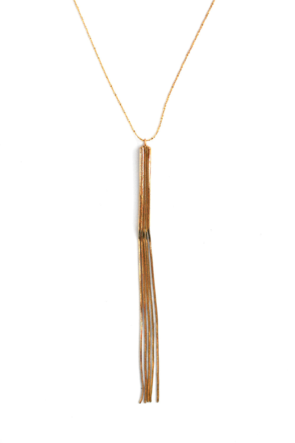 Fringed Drop Necklace - Gold