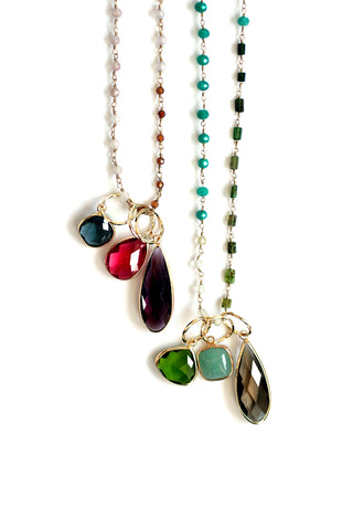 Triple Stone Pendant Necklace - Green