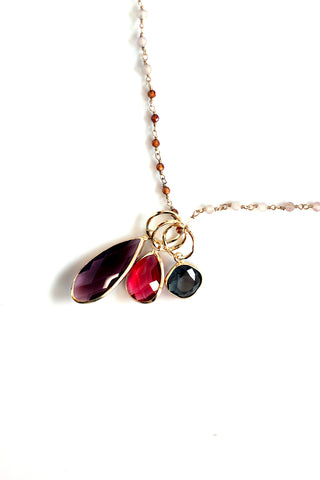 Triple Stone Pendant Necklace - Rose