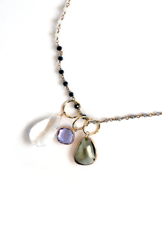 Triple Stone Pendant Necklace - White