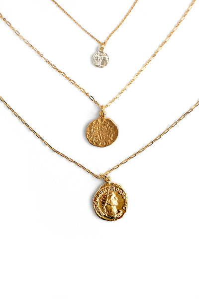 Antique Coin Necklace Set - Gold