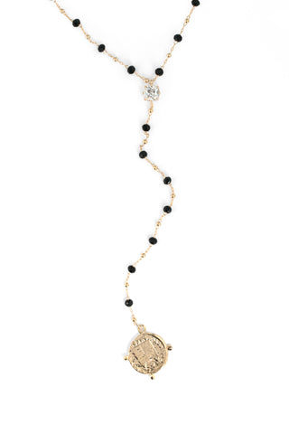 Long Crystal Bead  Coin Charm Necklace - Black