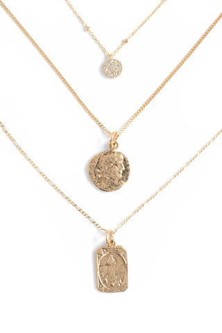 Mini Coin Necklace Pack of 3 - Gold