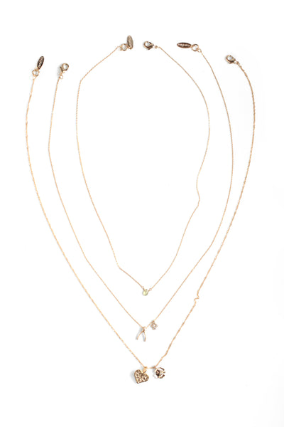 Mini Charm Necklace Pack of 3 - Gold