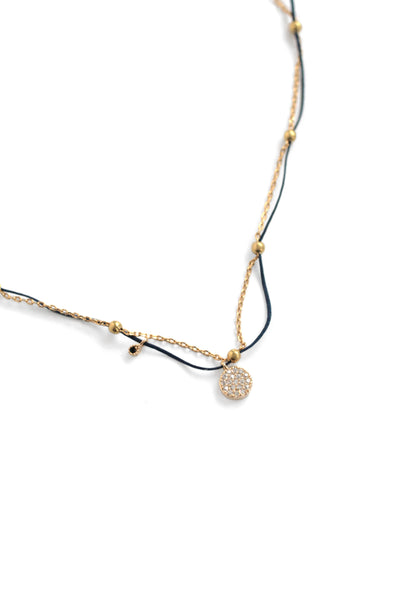 Mini Pave Charm Necklace - Navy