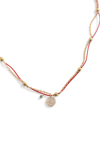 Mini Pave Charm Necklace - Red
