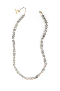 Long Silverite beaded necklace - Grey