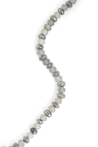 Long Moonstone Necklace - Grey