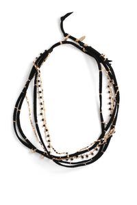 Suede and Strands Short Necklace- Black