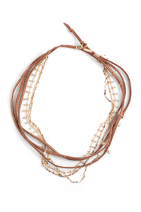 Suede and Strands Short Necklace - Tan