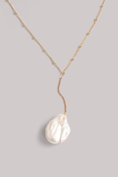 Single Pearl Drop Necklace - Pearl
