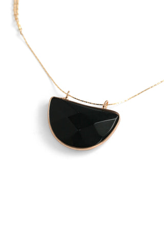 Crescent Pendant Necklace - Black