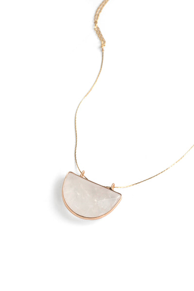 Crescent Pendant Necklace - Clear