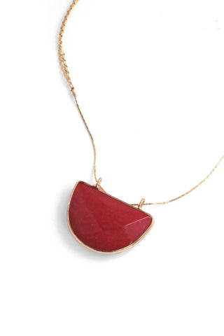 Crescent Pendant Necklace - Coral