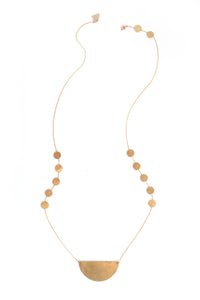 Long Semi Circle Pendent Necklace - Gold