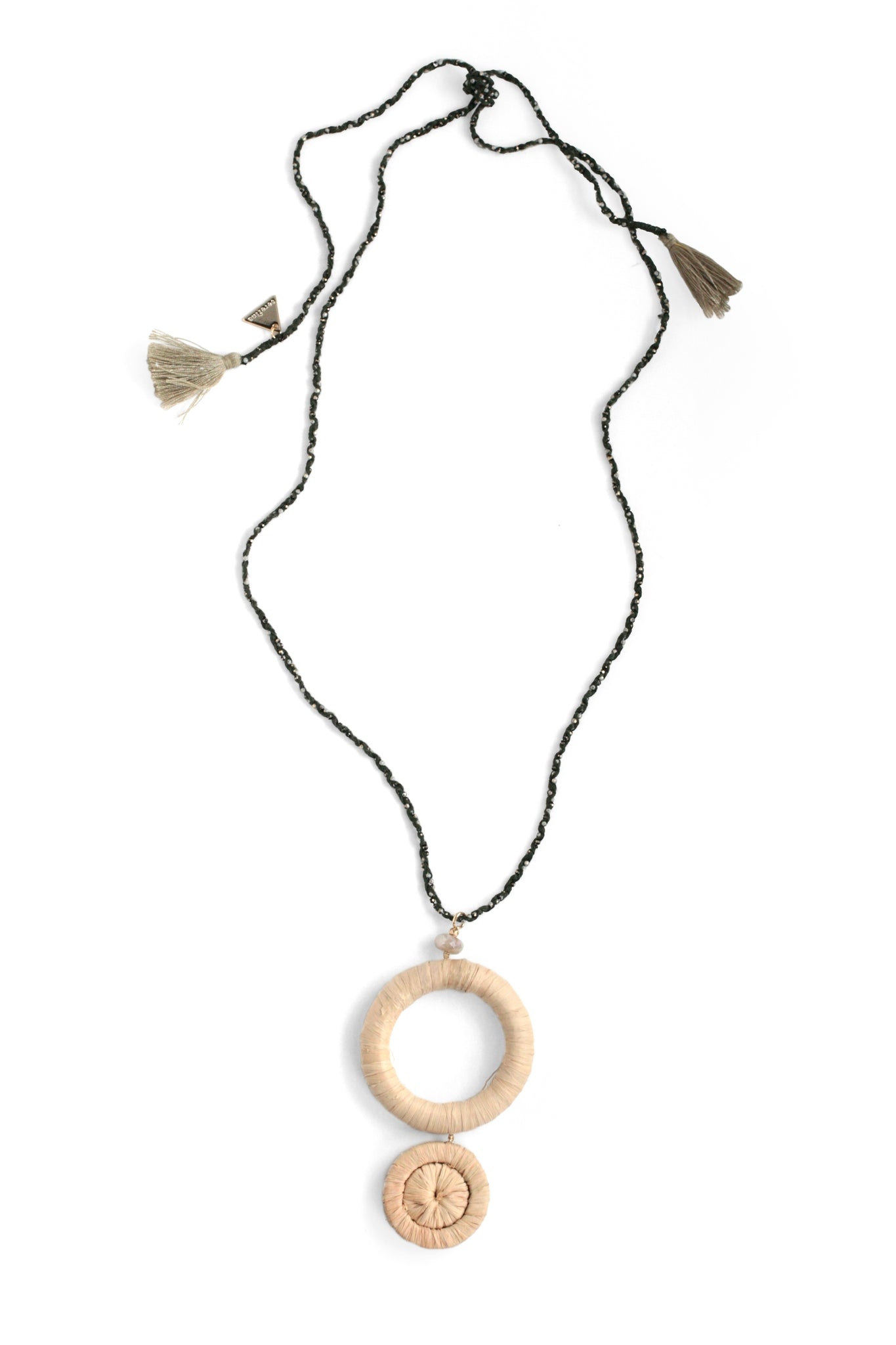 Raffia Circle Pendant necklace with Moonstone - Pearl