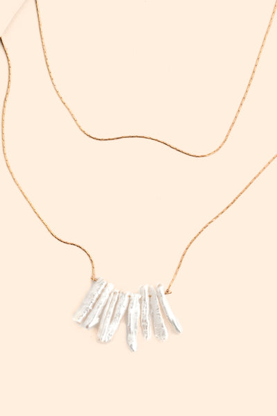 Dangle Pearl  Delicate Necklace - Pearl