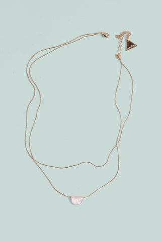 Double Layer Gemstone Necklace - Rose Quartz
