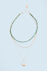 Triple Layered Necklace - Turquoise