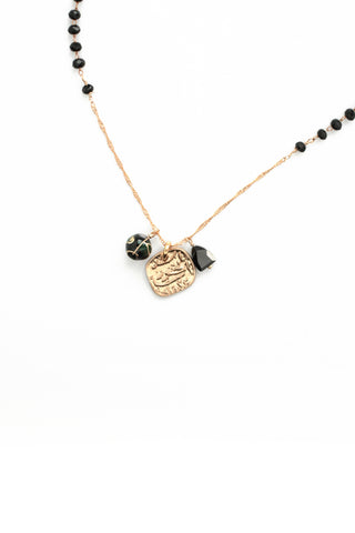 Beaded Charm Necklace -Black