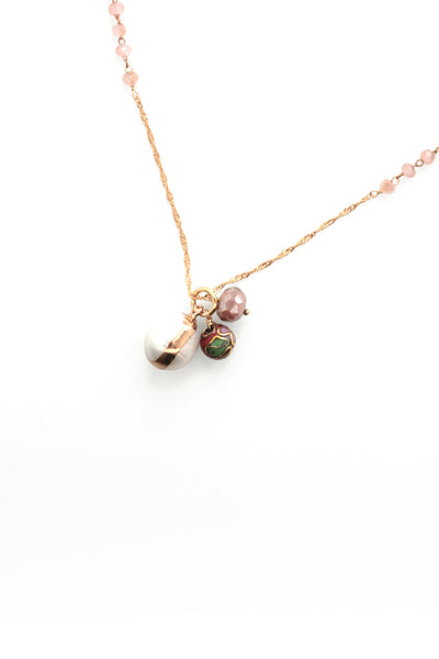 Beaded Charm Necklace -Rose