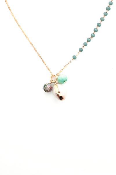 Beaded Charm Necklace -Turquoise