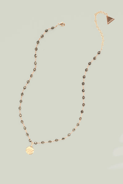 Delicate Bead and Coin Necklace - Grey