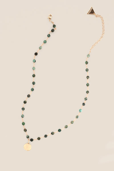 Delicate Bead and Coin Necklace - Turquoise