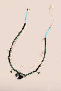 Mixed Material Layered Necklace- Turquoise