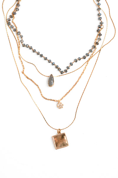 Multilayer Station Necklace - Grey