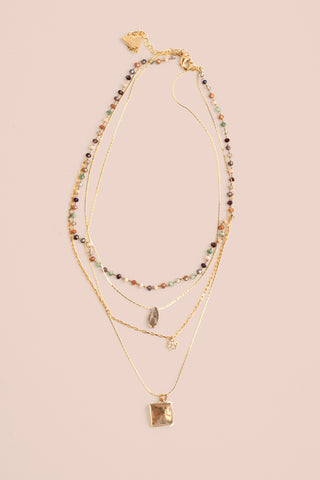 Multilayer Station Necklace - Multicolor