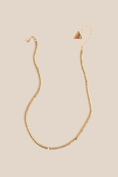 Multi Disk Single Necklace - Gold